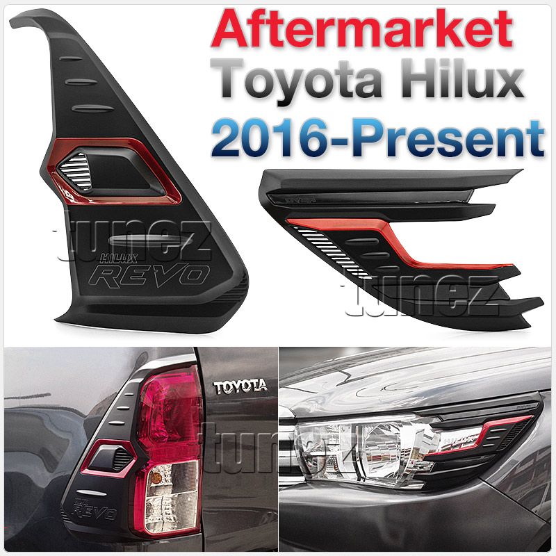 Front Tail Rear Light Lamp Cover For Toyota Hilux GUN1 2016-2020 TRD Black & Red