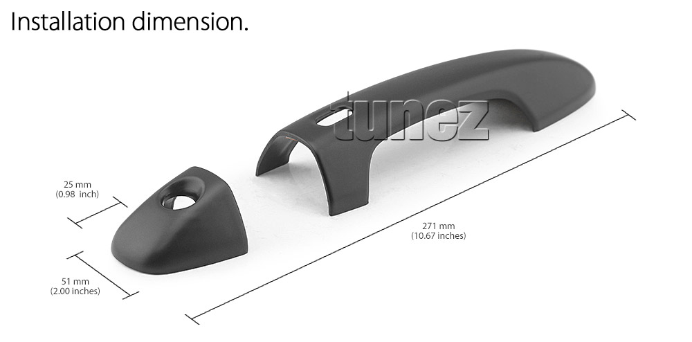 THM11 Toyota Hilux Series AN120 AN130 GUN1 Workmate SR SR5 Rouge Rugged X Active Icon D-4D Invincible AT35 Rugged UK United Kingdom USA Australia Europe Matte Matt Black Night Dark Sky Series Edition Keyless Smart Key Door Handle Passenger Front Rear Side Cover Guard Protector For Car Aftermarket Set Pair 2015 2016 2017 2018 2019 2020