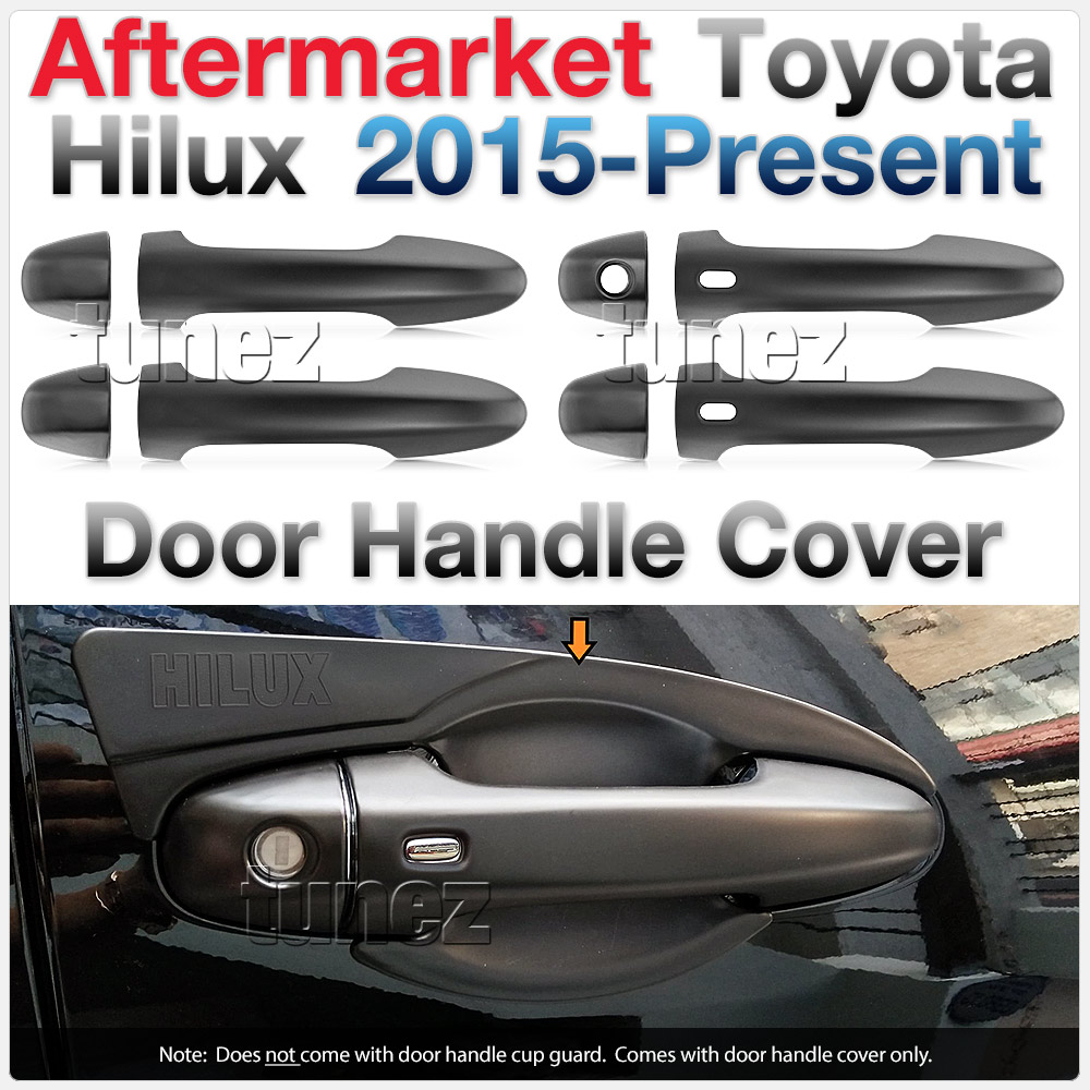 Matt Black Keyless Smart Key Door Handle Cover For Toyota Hilux 2016 2017