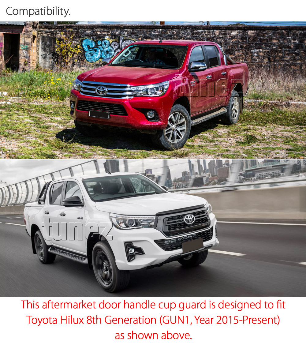 4x Door Handle Cup Guard Cover Matt Black For Toyota Hilux 2017 2018 2019 GUN1