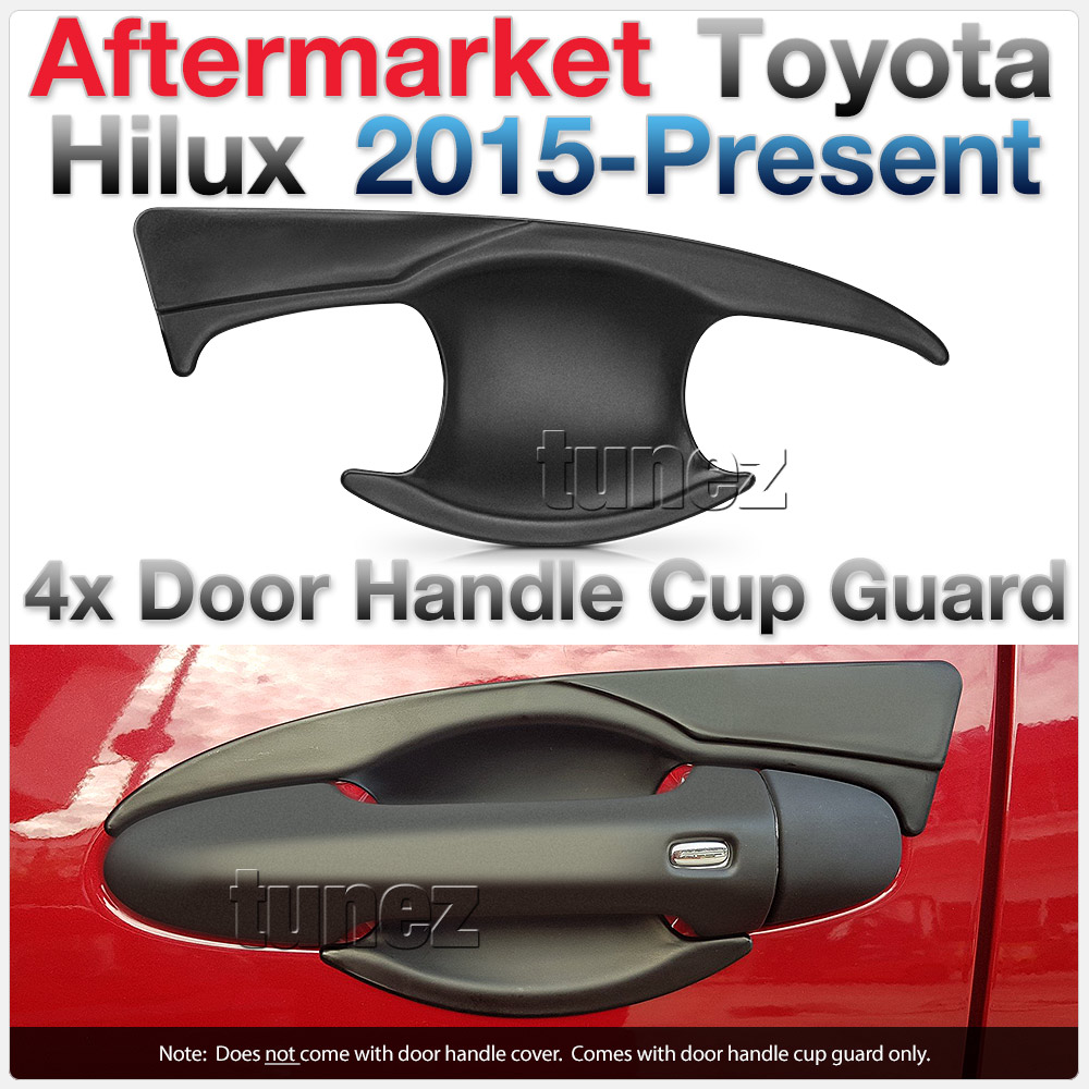 4x Door Handle Cup Guard Cover Matt Black For Toyota Hilux 2017 2018 2019 GUN1
