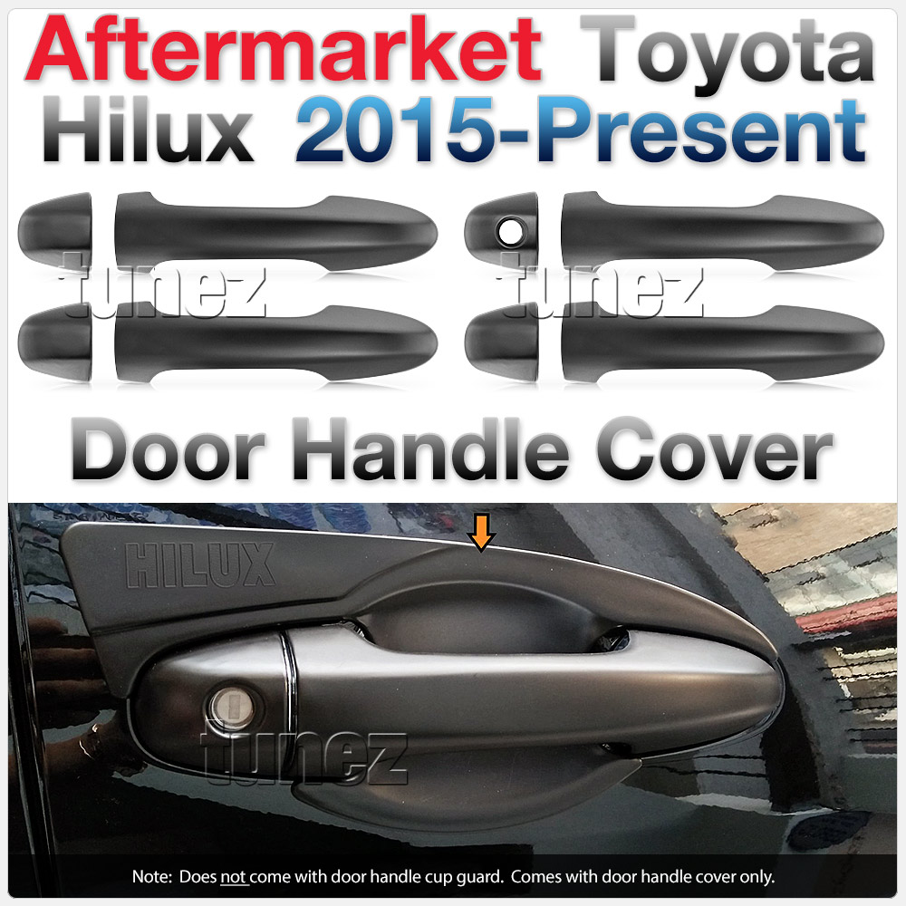 Matt Black Manual Remote Key Door Handle Cover For Toyota Hilux 2016 2017