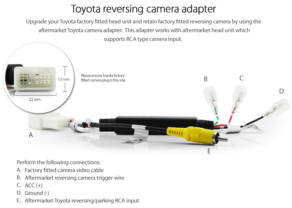 aftermarket toyota reversing camera adapter rear view
