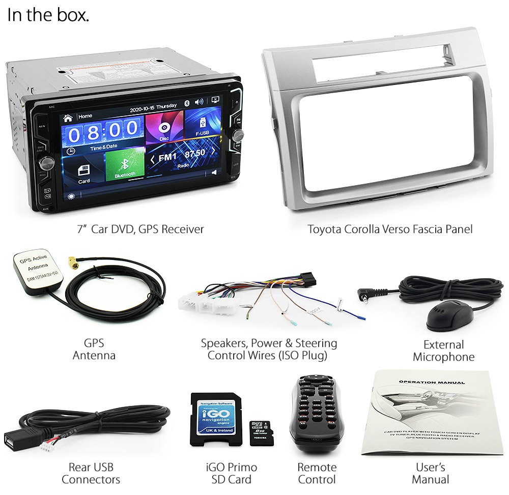 7 toyota corolla verso car gps dvd player head unit radio stereo usb fascia kt ebay. Black Bedroom Furniture Sets. Home Design Ideas
