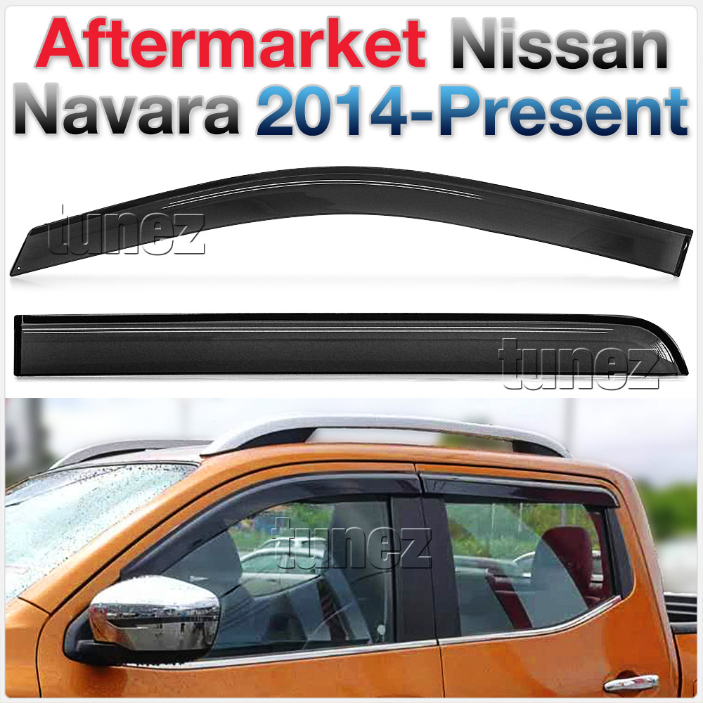 Tunez Window Door Visor Weather Shield For Nissan Navara NP300 D23 2015-2020 Ute